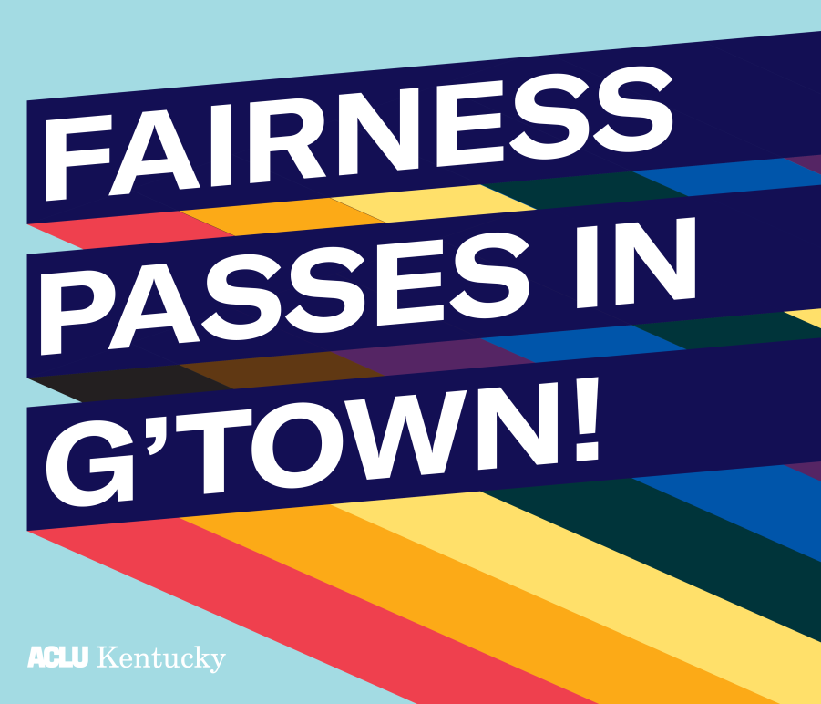 "Graphic with light blue background and three slanted bars with rainbow stripes giving a 3D effect. Each bar has one line of text. Together the read, ""Fairness Passes in G'Town!:"