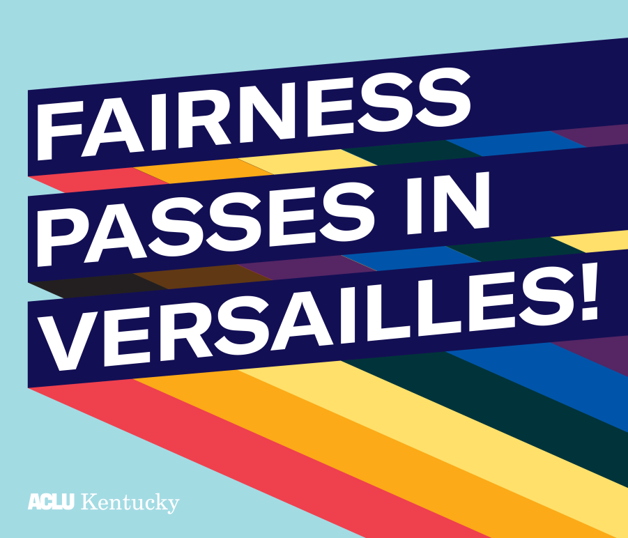 "Graphic with light blue background and three slanted bars with rainbow stripes giving a 3D effect. Each bar has one line of text. Together the read, ""Fairness Passes in Versailles!:"
