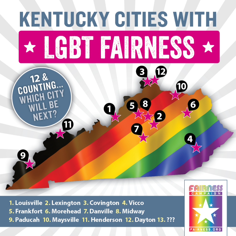 Map of Kentucky indicating 12 cities with Fairness protections
