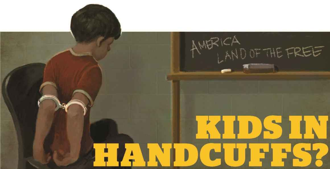 Graphic of child handcuffed on upper arms