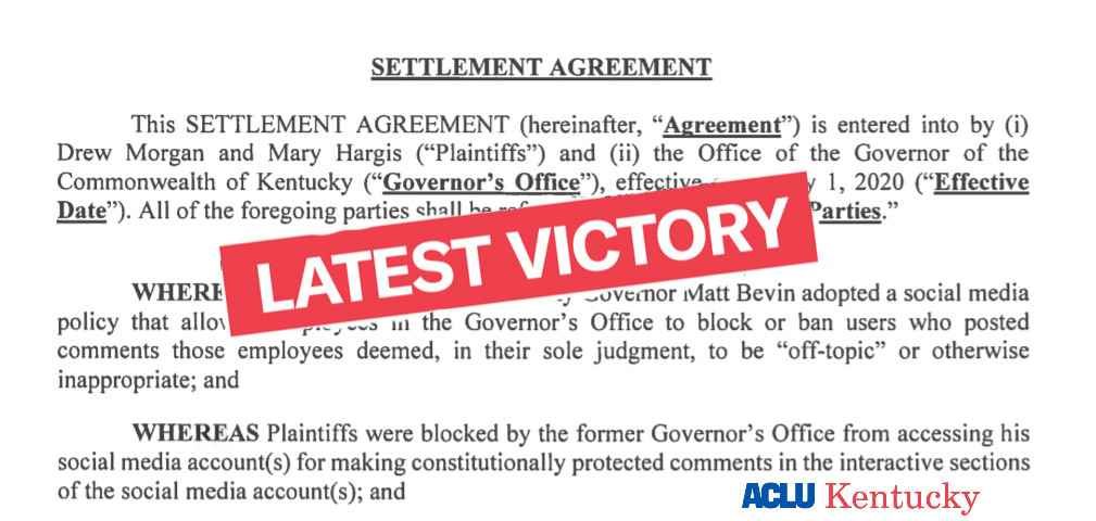 Screen grab of ACLU-KY settlement agreement of social media case. Latest Victory stamp across text