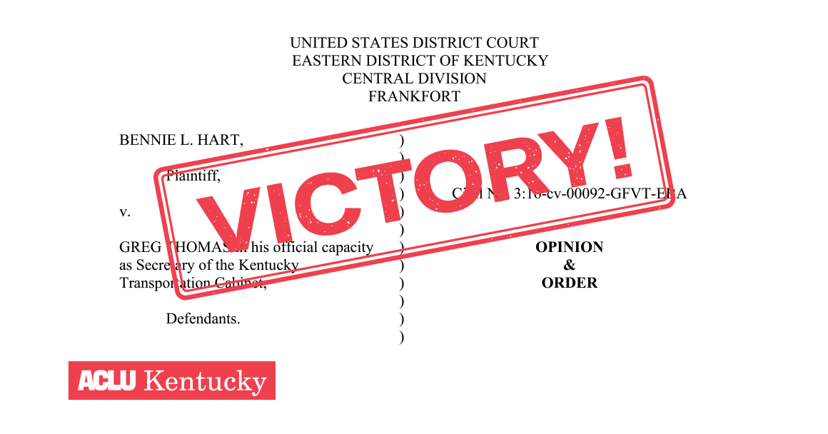 "Copy of judge's ruling with graphic like a red stamp across the entire page that reads ""VICTORY!"""