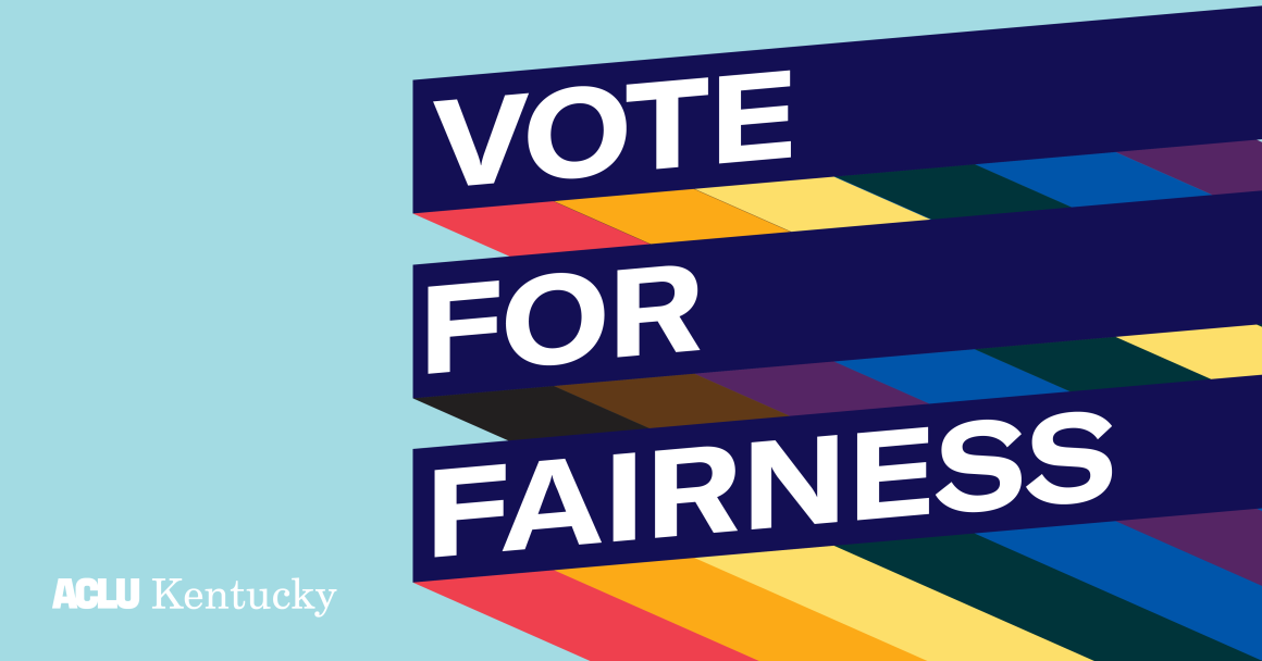 "Graphic with light blue background and three slanted bars with rainbow stripes giving a 3D effect. Each bar has one line of text. Together the read, ""Vote For Fairness!:"