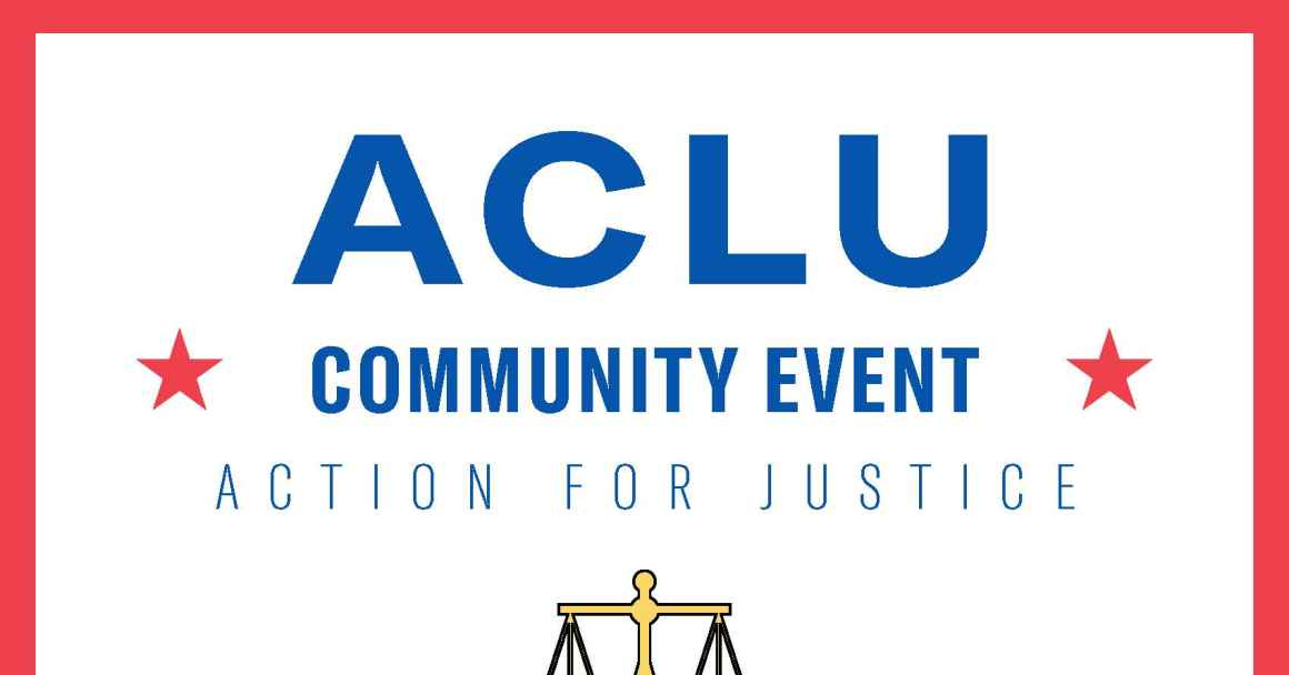 Flyer for Act for Justice Event with text and balanced scale graphic